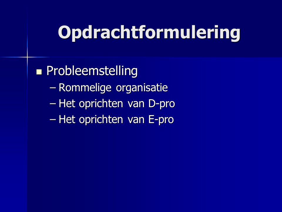 Opdrachtformulering Probleemstelling Probleemstelling –Rommelige organisatie –Het oprichten van D-pro –Het oprichten van E-pro