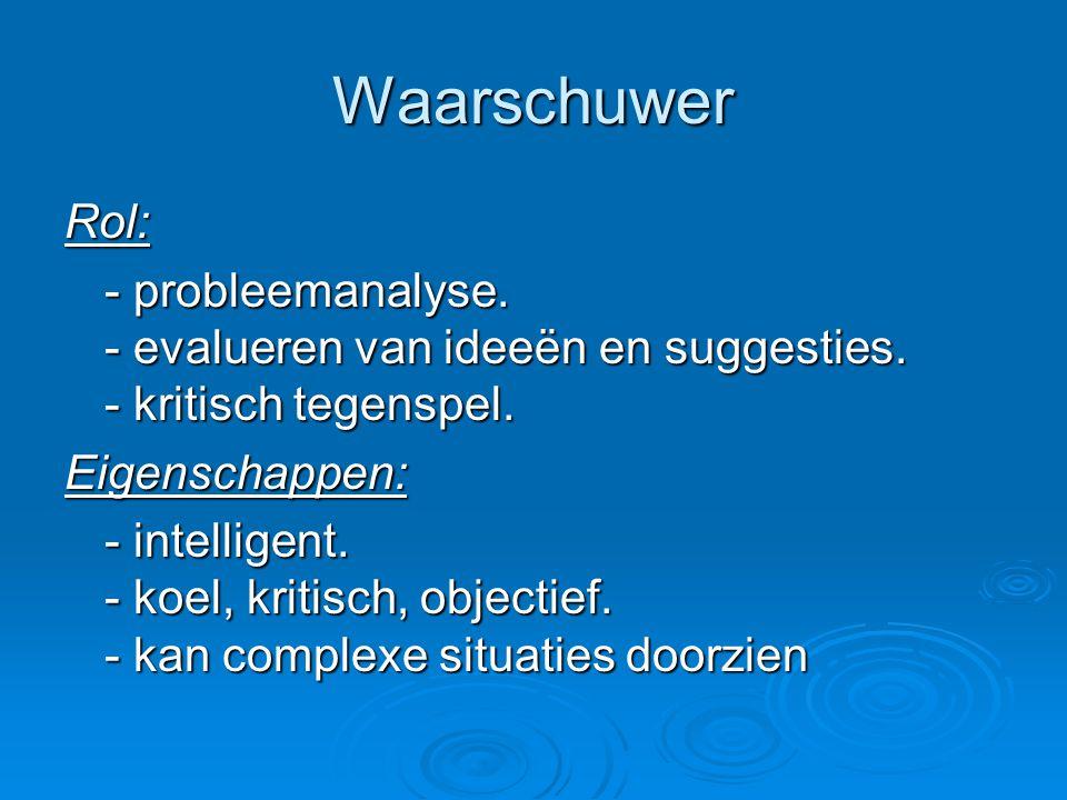 Waarschuwer Rol: - probleemanalyse. - evalueren van ideeën en suggesties. - kritisch tegenspel. Eigenschappen: - intelligent. - koel, kritisch, object