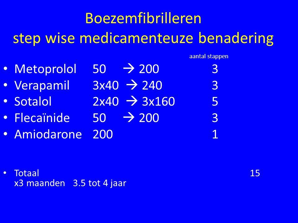 Boezemfibrilleren step wise medicamenteuze benadering aantal stappen Metoprolol 50  2003 Verapamil 3x40  2403 Sotalol 2x40  3x1605 Flecaïnide 50  2003 Amiodarone2001 Totaal 15 x3 maanden 3.5 tot 4 jaar