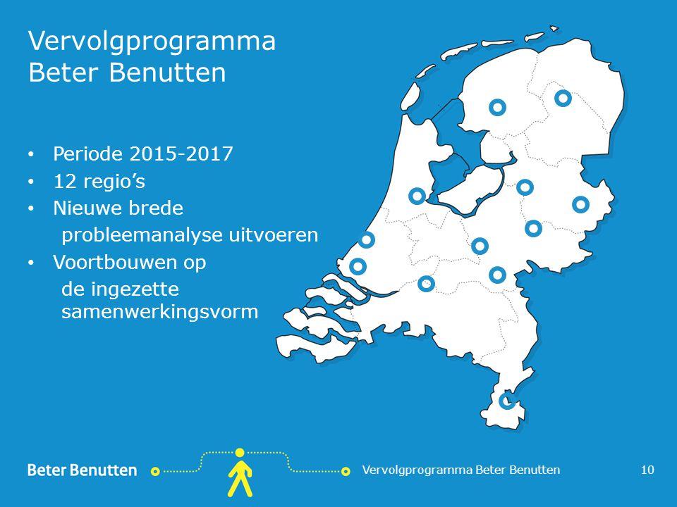 Vervolgprogramma Beter Benutten Periode 2015-2017 12 regio's Nieuwe brede probleemanalyse uitvoeren Voortbouwen op de ingezette samenwerkingsvorm Verv