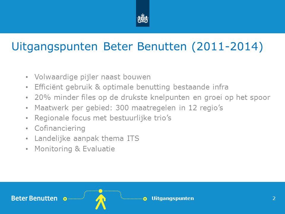 Uitgangspunten Beter Benutten (2011-2014) Volwaardige pijler naast bouwen Efficiënt gebruik & optimale benutting bestaande infra 20% minder files op de drukste knelpunten en groei op het spoor Maatwerk per gebied: 300 maatregelen in 12 regio's Regionale focus met bestuurlijke trio's Cofinanciering Landelijke aanpak thema ITS Monitoring & Evaluatie Uitgangspunten2