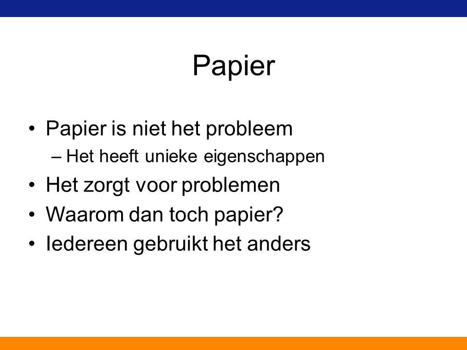 Papier Papier is niet het probleem –Het heeft unieke eigenschappen Het zorgt voor problemen Waarom dan toch papier? Iedereen gebruikt het anders