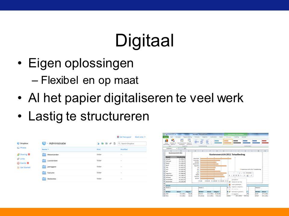Digitaal Eigen oplossingen –Flexibel en op maat Al het papier digitaliseren te veel werk Lastig te structureren