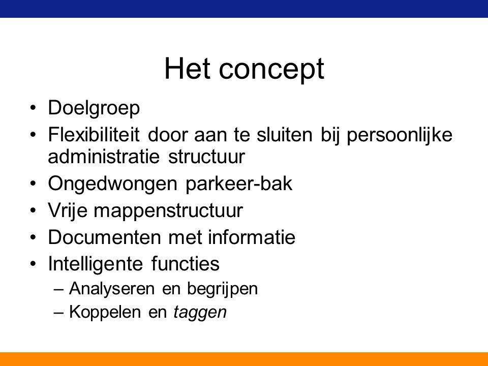 Het concept Doelgroep Flexibiliteit door aan te sluiten bij persoonlijke administratie structuur Ongedwongen parkeer-bak Vrije mappenstructuur Documen
