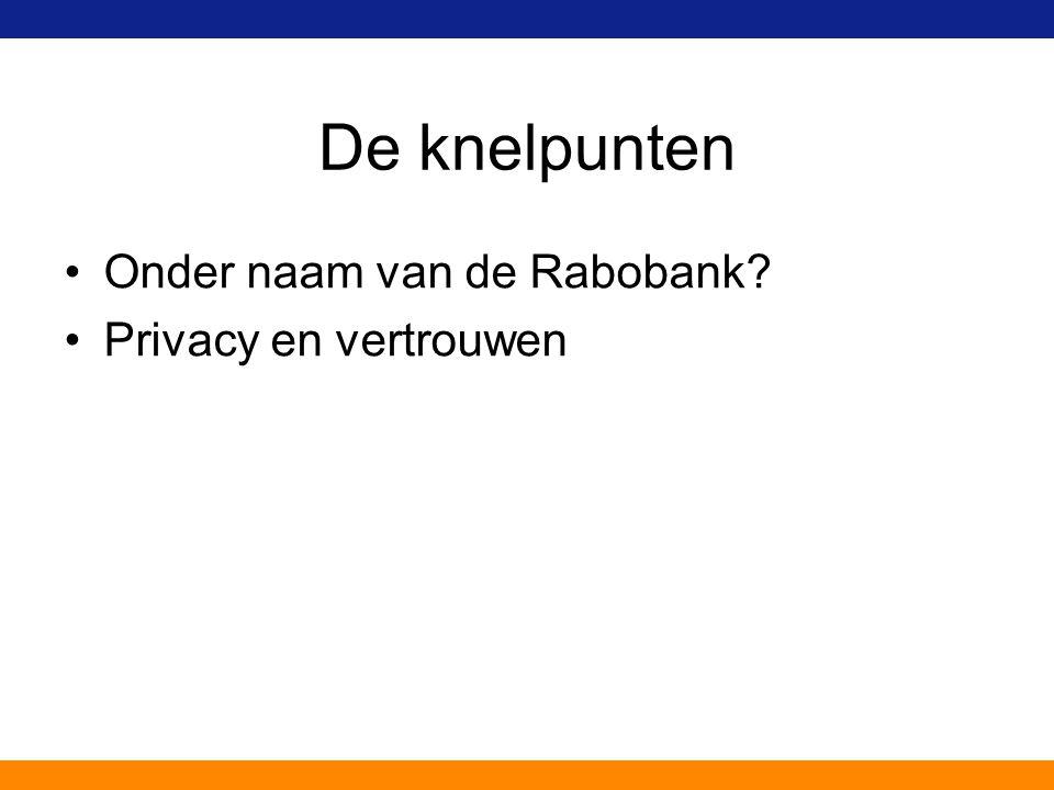 De knelpunten Onder naam van de Rabobank? Privacy en vertrouwen