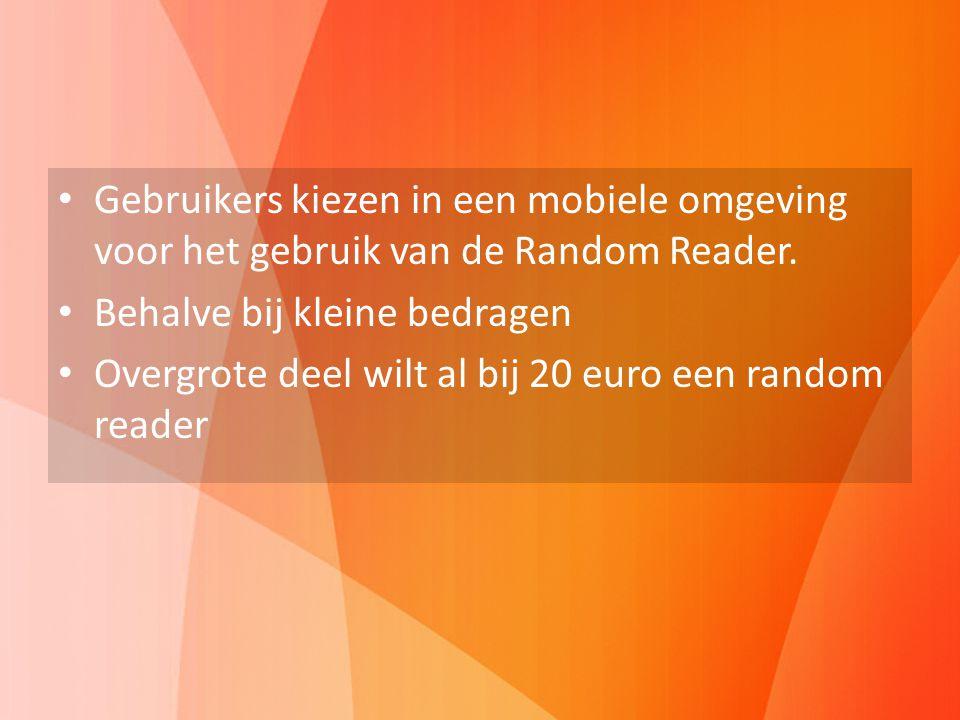 Gebruikers kiezen in een mobiele omgeving voor het gebruik van de Random Reader. Behalve bij kleine bedragen Overgrote deel wilt al bij 20 euro een ra