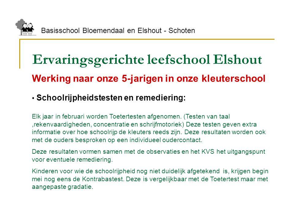 Ervaringsgerichte leefschool Elshout Basisschool Bloemendaal en Elshout - Schoten Werking naar onze 5-jarigen in onze kleuterschool Schoolrijpheidstes