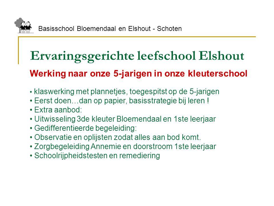 Ervaringsgerichte leefschool Elshout Basisschool Bloemendaal en Elshout - Schoten Werking naar onze 5-jarigen in onze kleuterschool klaswerking met pl