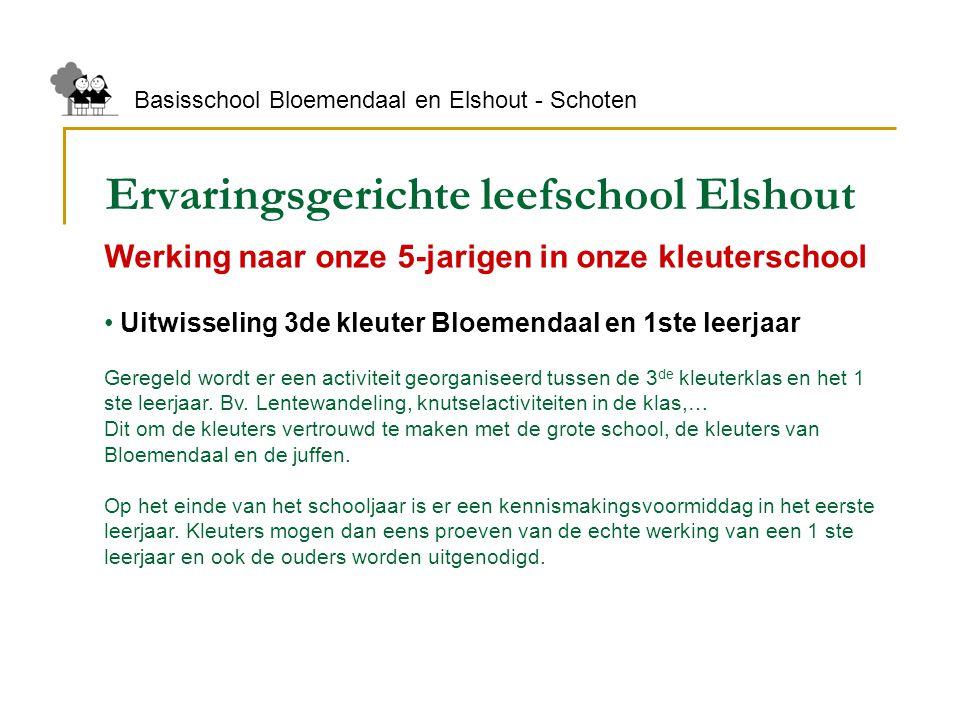 Ervaringsgerichte leefschool Elshout Basisschool Bloemendaal en Elshout - Schoten Werking naar onze 5-jarigen in onze kleuterschool Uitwisseling 3de k