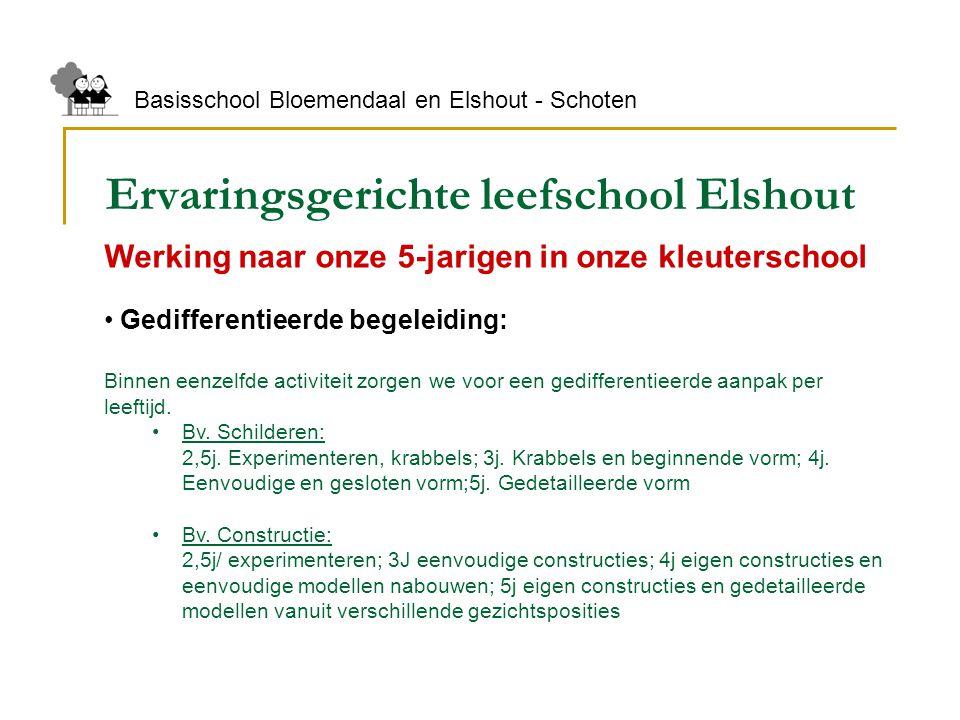 Ervaringsgerichte leefschool Elshout Basisschool Bloemendaal en Elshout - Schoten Werking naar onze 5-jarigen in onze kleuterschool Gedifferentieerde
