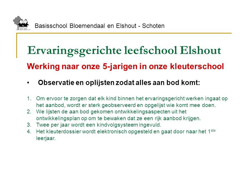Ervaringsgerichte leefschool Elshout Basisschool Bloemendaal en Elshout - Schoten Werking naar onze 5-jarigen in onze kleuterschool Observatie en opli