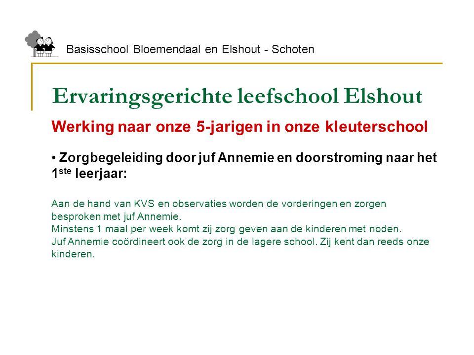 Ervaringsgerichte leefschool Elshout Basisschool Bloemendaal en Elshout - Schoten Werking naar onze 5-jarigen in onze kleuterschool Zorgbegeleiding do