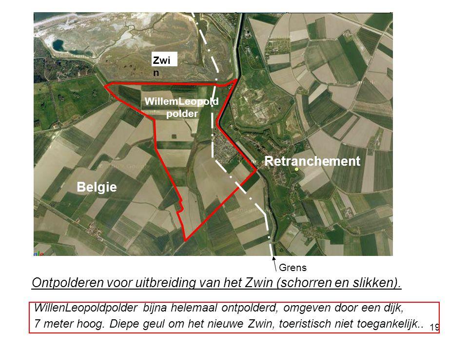 19 Ontpolderen voor uitbreiding van het Zwin (schorren en slikken). Grens WillemLeopold polder Zwi n Belgie Retranchement WillenLeopoldpolder bijna he