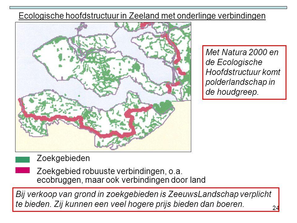 24 Zoekgebieden Zoekgebied robuuste verbindingen, o.a. ecobruggen, maar ook verbindingen door land Ecologische hoofdstructuur in Zeeland met onderling