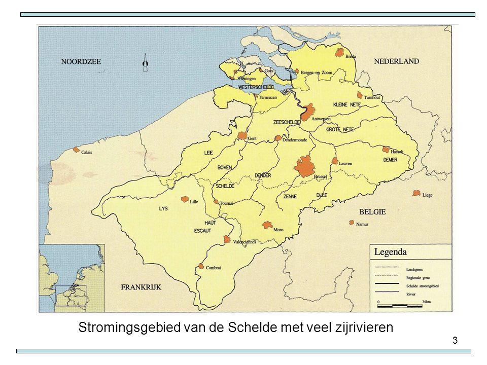 3 Stromingsgebied van de Schelde met veel zijrivieren