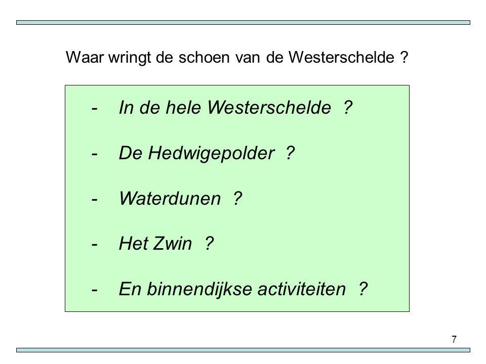 8 Antwerpen ver van de Noordzee.Zoveel bochten in de Schelde, ook in Vlaanderen.