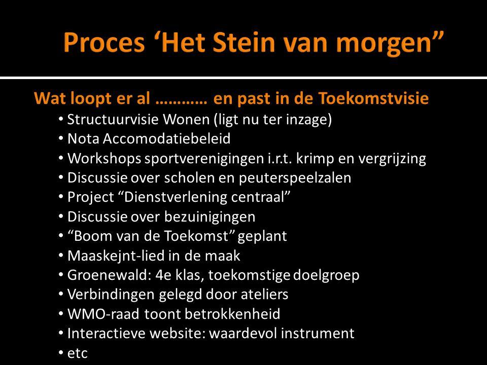 Uitwerking thema's (Inhoud) 5 DeskundigenateliersInteractieve website, forumdiscussies Relecties (Opinievorming) Burgerpanel M.O.Klankbordgroep Koersbepaling (Keuzes) Raad
