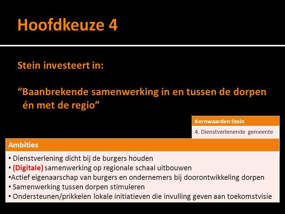 Stein investeert in: Baanbrekende samenwerking in en tussen de dorpen én met de regio Kernwaarden Stein 4.