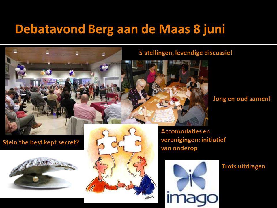 Debatavond Berg aan de Maas 8 juni 5 stellingen, levendige discussie.