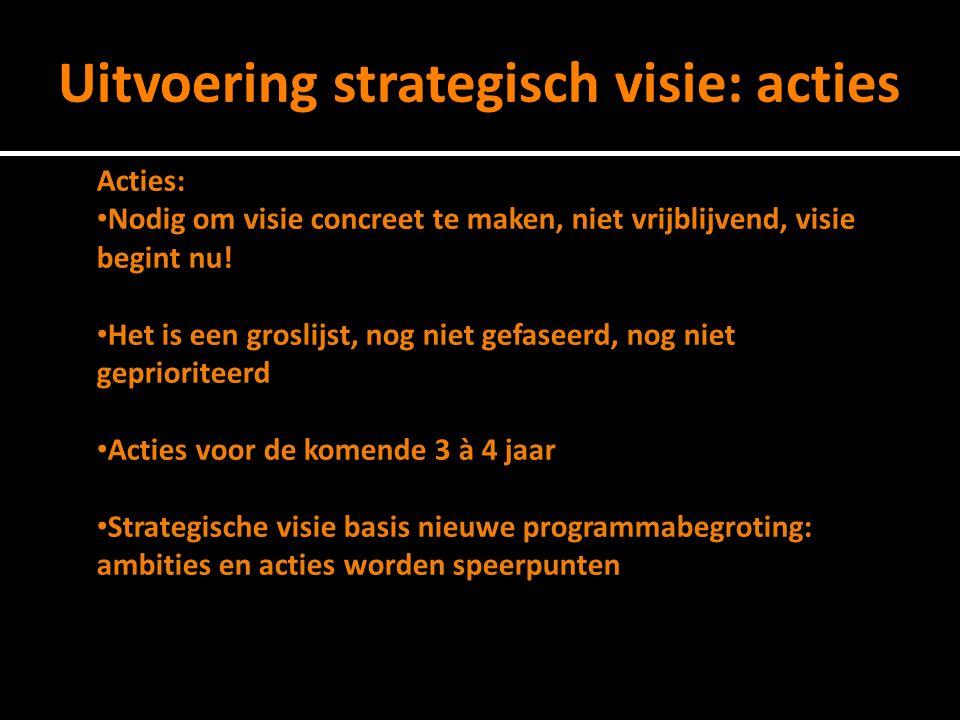 Uitvoering strategisch visie: acties Acties: Nodig om visie concreet te maken, niet vrijblijvend, visie begint nu.