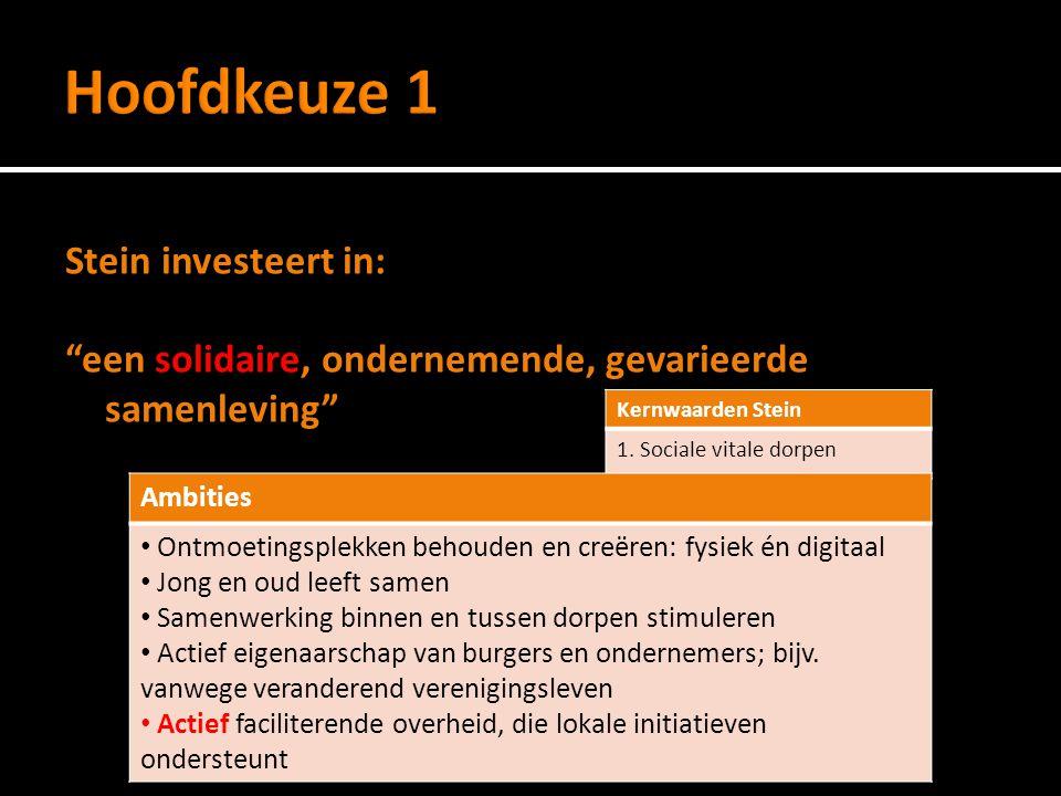 Stein investeert in: Kwaliteit van wonen en voorzieningen in de gemeente Kernwaarden Stein 2.