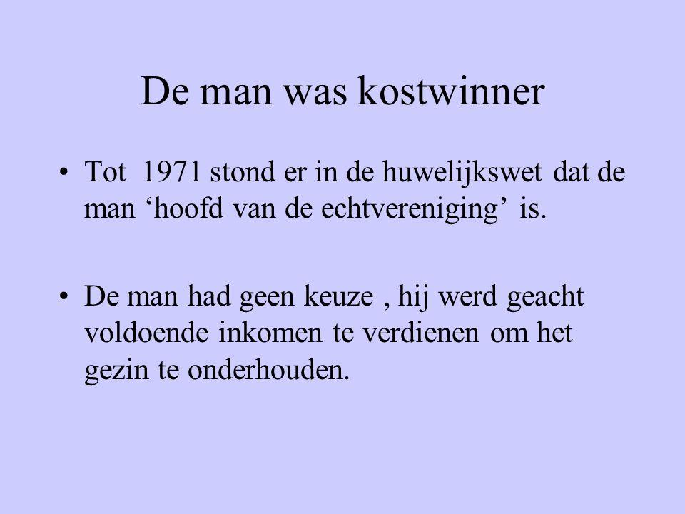 De man was kostwinner Tot 1971 stond er in de huwelijkswet dat de man 'hoofd van de echtvereniging' is.