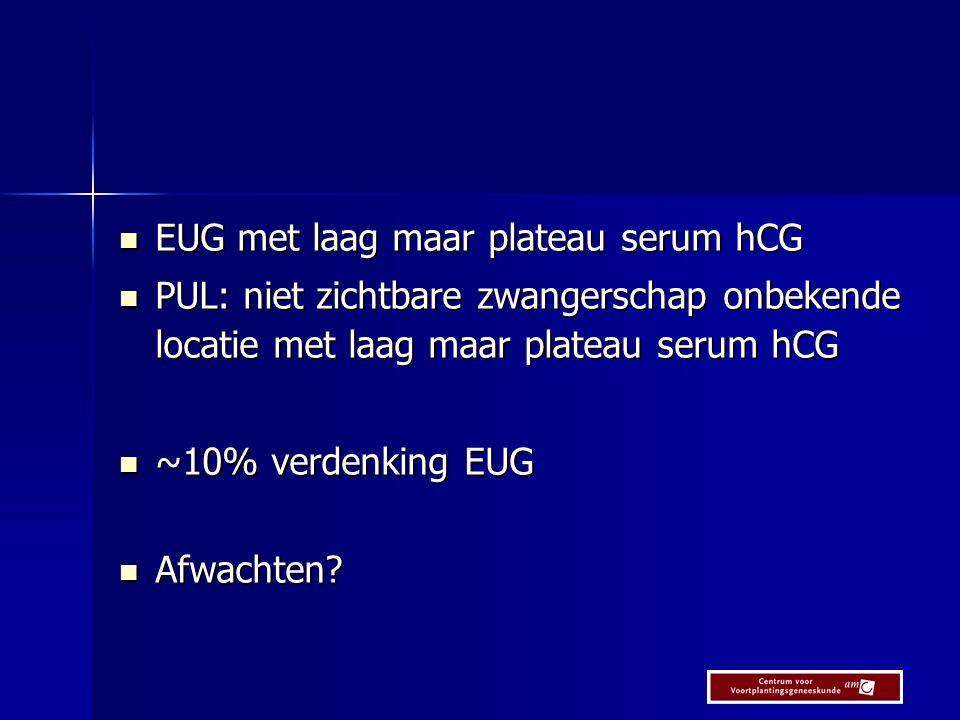METEX study n=72 P:1.EUG en serum hCG plateau < 1,500 IU/l 2.