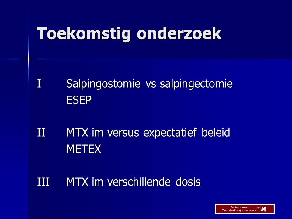 Toekomstig onderzoek ISalpingostomie vs salpingectomie ESEP IIMTX im versus expectatief beleid METEX IIIMTX im verschillende dosis