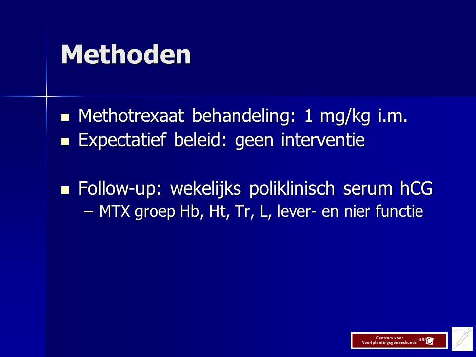 Methoden Methotrexaat behandeling: 1 mg/kg i.m.Methotrexaat behandeling: 1 mg/kg i.m.