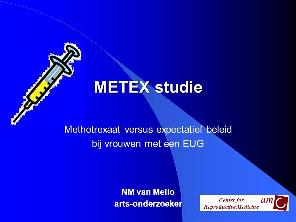 Center for Reproductive Medicine METEX studie METEX studie Methotrexaat versus expectatief beleid bij vrouwen met een EUG NM van Mello arts-onderzoeke