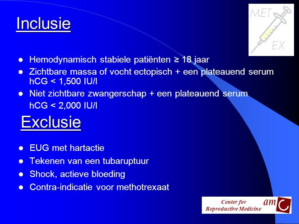 Center for Reproductive Medicine Inclusie l Hemodynamisch stabiele patiënten ≥ 18 jaar l Zichtbare massa of vocht ectopisch + een plateauend serum hCG