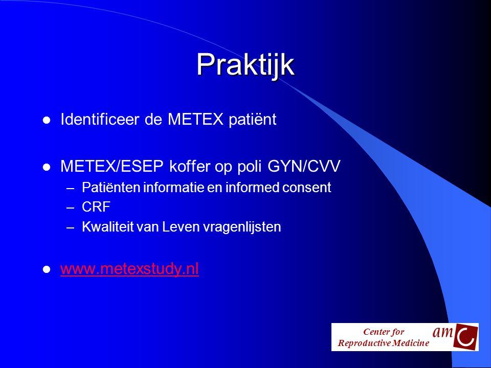 Center for Reproductive Medicine Praktijk l Identificeer de METEX patiënt l METEX/ESEP koffer op poli GYN/CVV –Patiënten informatie en informed consen