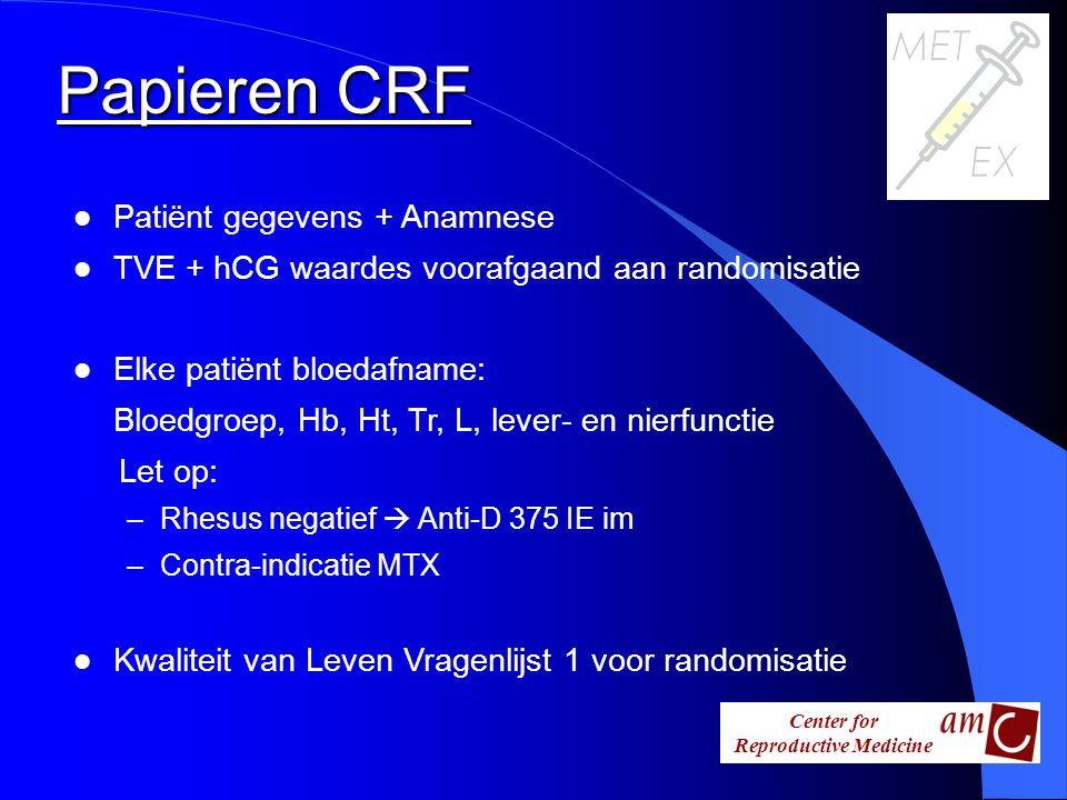 Center for Reproductive Medicine l Patiënt gegevens + Anamnese l TVE + hCG waardes voorafgaand aan randomisatie l Elke patiënt bloedafname: Bloedgroep