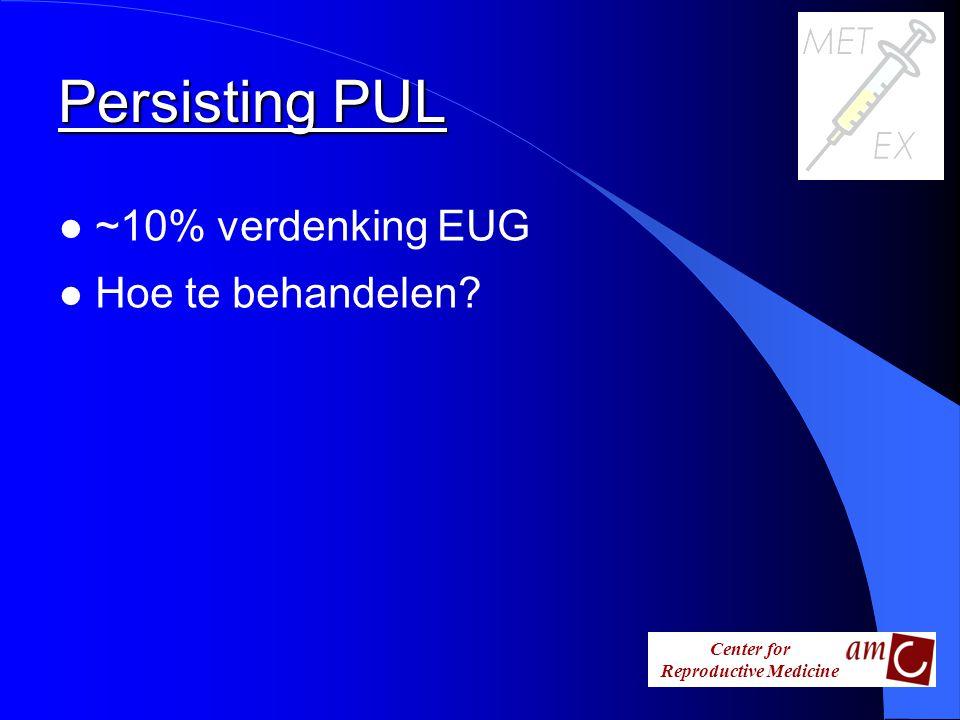 Center for Reproductive Medicine Persisting PUL l ~10% verdenking EUG l Hoe te behandelen?