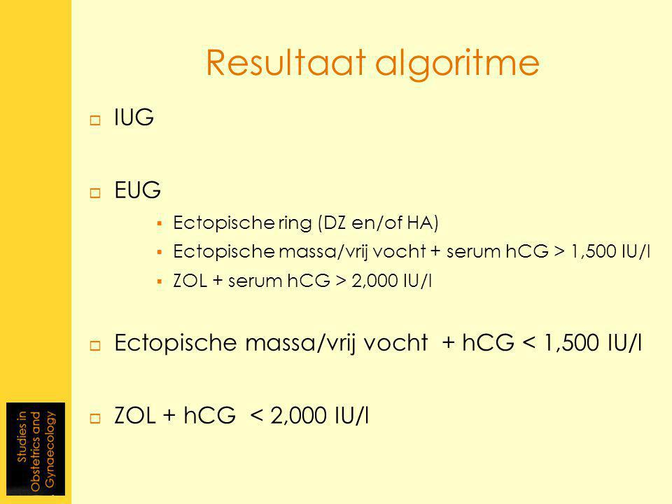  IUG  EUG  Ectopische ring (DZ en/of HA)  Ectopische massa/vrij vocht + serum hCG > 1,500 IU/l  ZOL + serum hCG > 2,000 IU/l  Ectopische massa/v