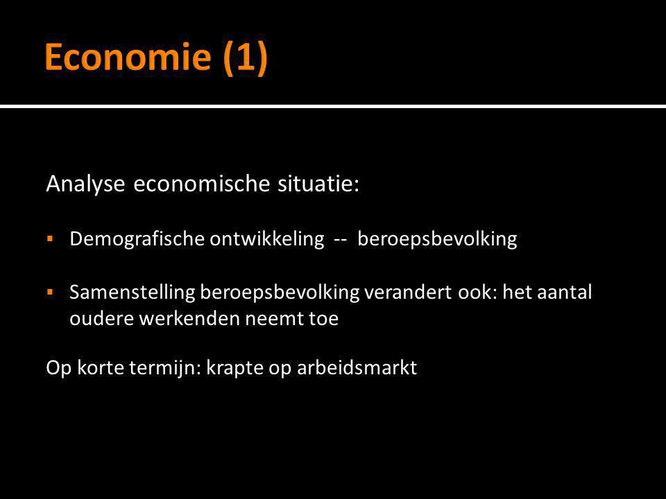 Analyse economische situatie:  Demografische ontwikkeling -- beroepsbevolking  Samenstelling beroepsbevolking verandert ook: het aantal oudere werke