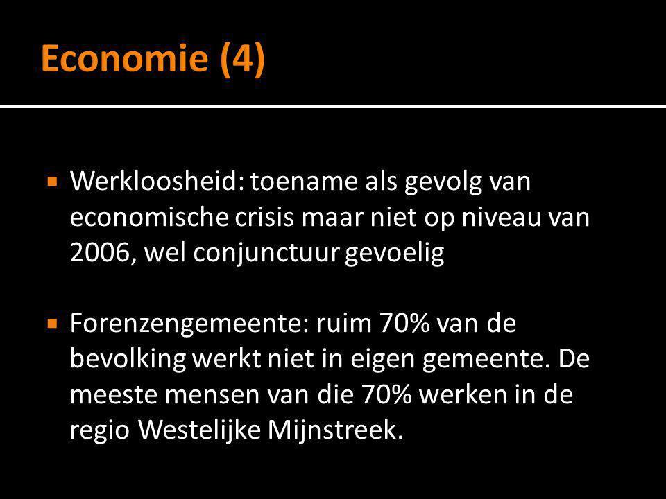 Werkloosheid: toename als gevolg van economische crisis maar niet op niveau van 2006, wel conjunctuur gevoelig  Forenzengemeente: ruim 70% van de b