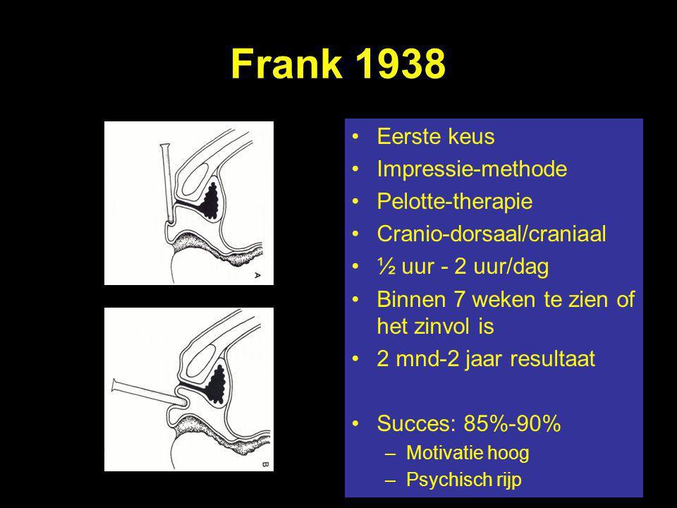 Eerste keus Impressie-methode Pelotte-therapie Cranio-dorsaal/craniaal ½ uur - 2 uur/dag Binnen 7 weken te zien of het zinvol is 2 mnd-2 jaar resultaa