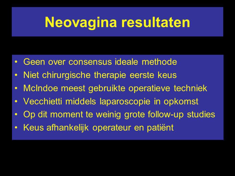 Neovagina resultaten Geen over consensus ideale methode Niet chirurgische therapie eerste keus McIndoe meest gebruikte operatieve techniek Vecchietti