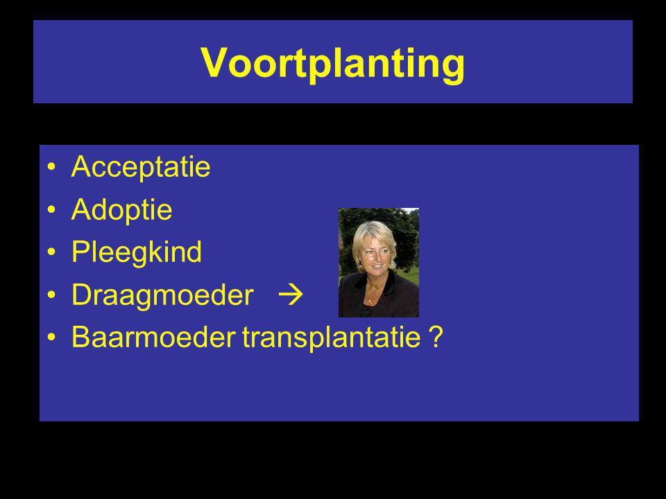 Voortplanting Acceptatie Adoptie Pleegkind Draagmoeder  Baarmoeder transplantatie ?