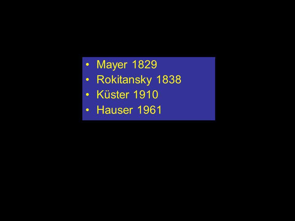Historie Mayer: Duitse arts (1787-1865) Rokitansky: Oostenrijks patholoog (1804-1865) Küster: Duits gynaecoloog (20e eeuw) Hauser: Zwitsers arts (20e eeuw)
