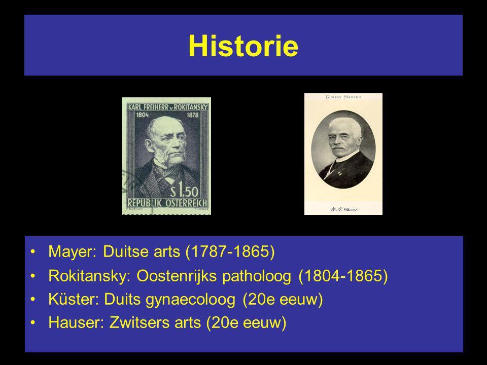 Historie Mayer: Duitse arts (1787-1865) Rokitansky: Oostenrijks patholoog (1804-1865) Küster: Duits gynaecoloog (20e eeuw) Hauser: Zwitsers arts (20e