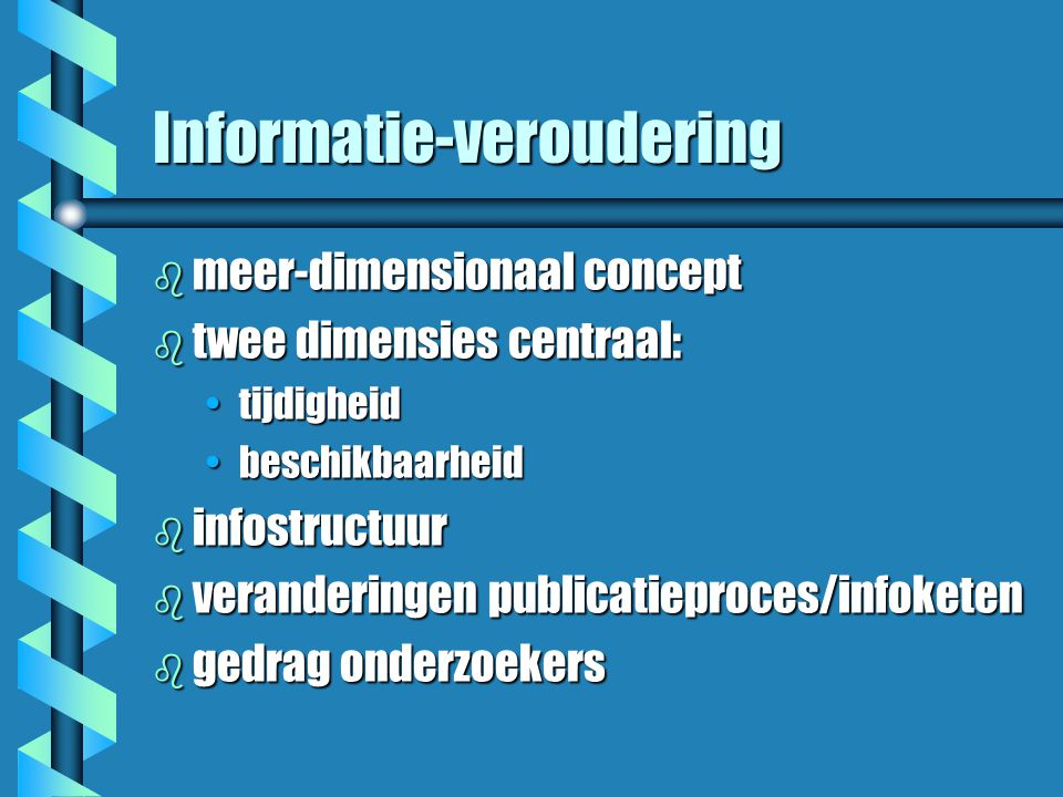 Wat weten we? b informatiezoekgedrag b motivaties voor hyperlinking b e-journals (veldverschillen) b using internet info sources b impact of e-journal