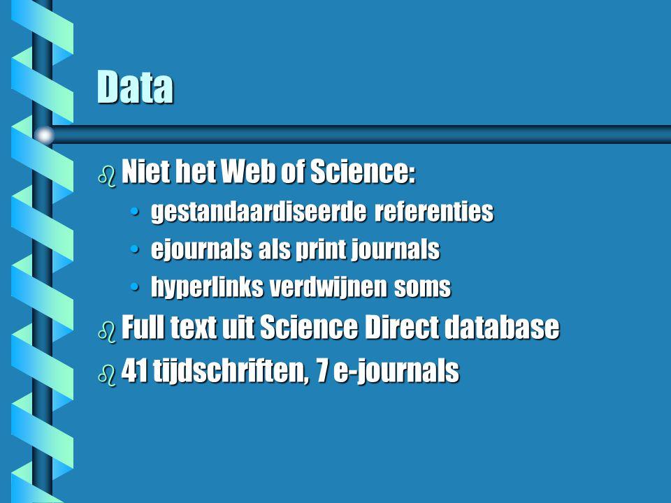 Wetenschapsgebieden b bibliotheek- en informatiewetenschap b wiskundige informatica b sociologie b biochemie/biotechnologie b neurowetenschappen