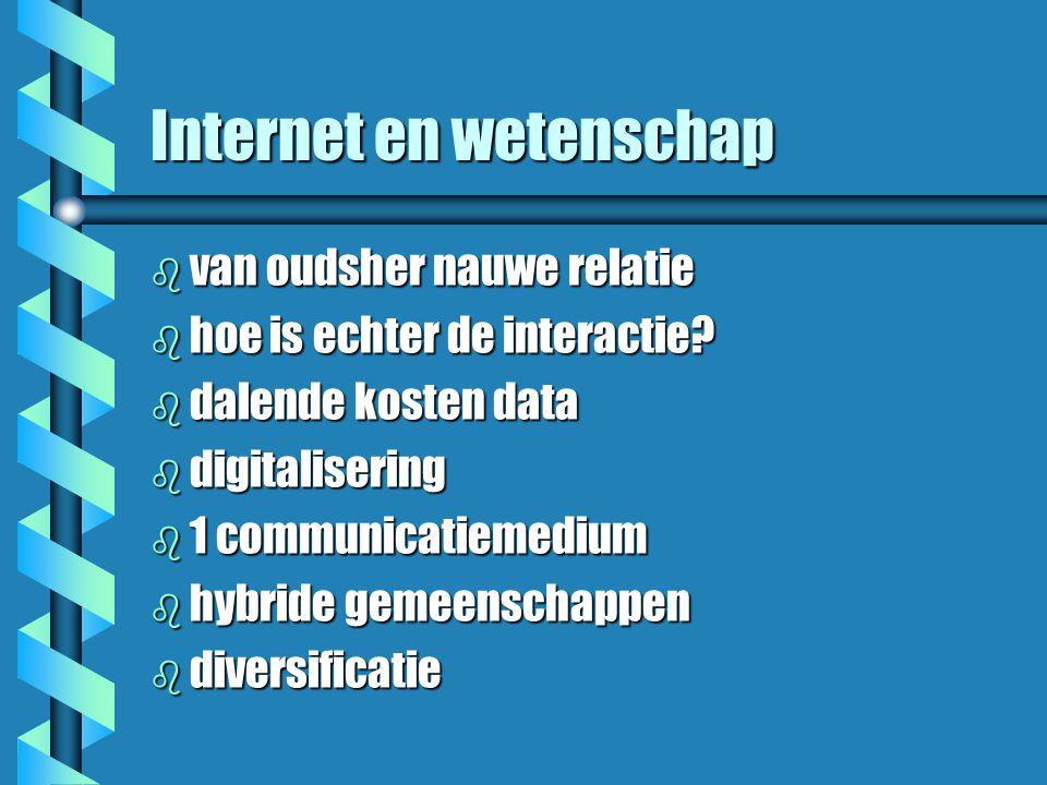 Internet en wetenschap b van oudsher nauwe relatie b hoe is echter de interactie.