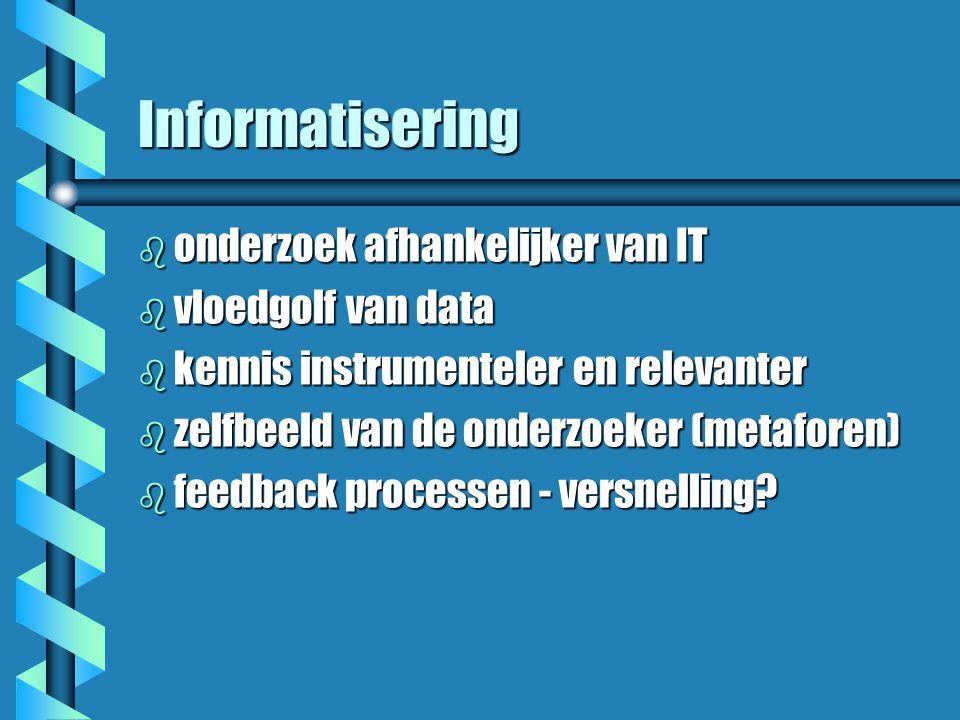 Informatisering b onderzoek afhankelijker van IT b vloedgolf van data b kennis instrumenteler en relevanter b zelfbeeld van de onderzoeker (metaforen) b feedback processen - versnelling?