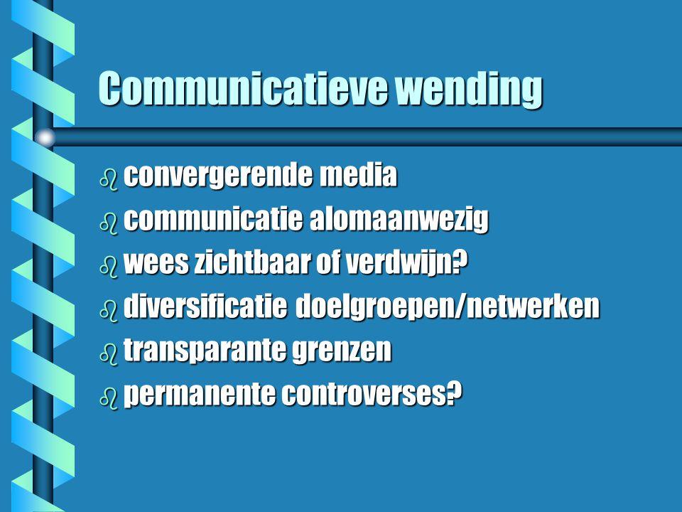 Communicatieve wending b convergerende media b communicatie alomaanwezig b wees zichtbaar of verdwijn.