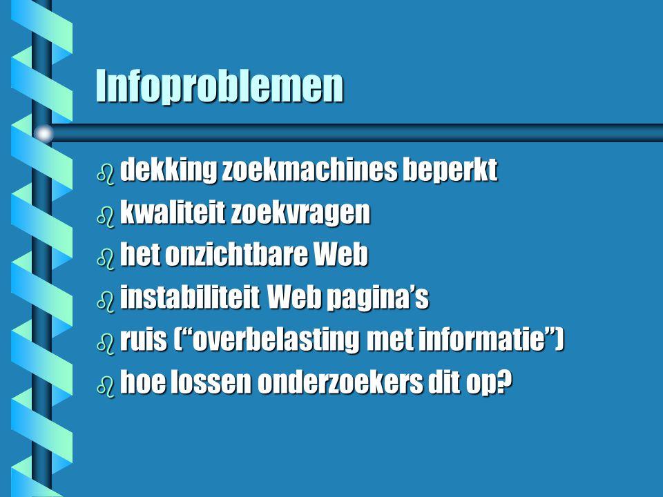Infoproblemen b dekking zoekmachines beperkt b kwaliteit zoekvragen b het onzichtbare Web b instabiliteit Web pagina's b ruis ( overbelasting met informatie ) b hoe lossen onderzoekers dit op?