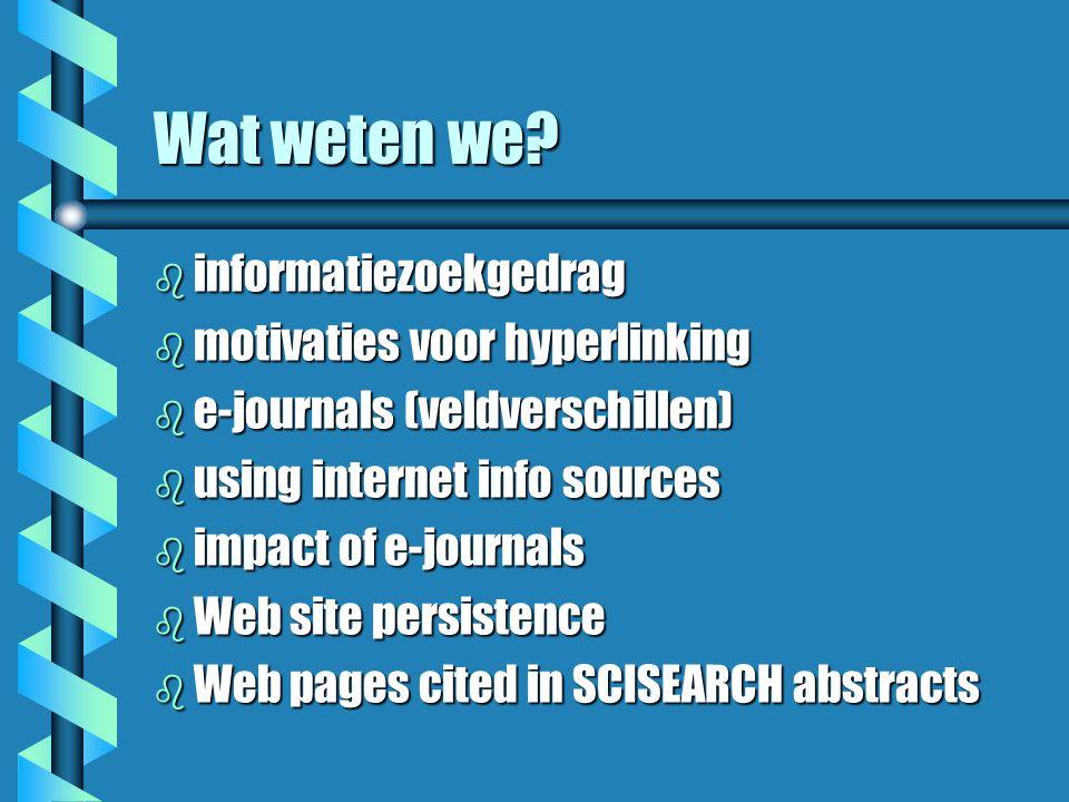 Infoproblemen b dekking zoekmachines beperkt b kwaliteit zoekvragen b het onzichtbare Web b instabiliteit Web pagina's b ruis ( overbelasting met informatie ) b hoe lossen onderzoekers dit op