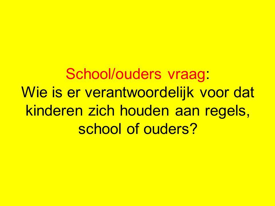 School/ouders vraag: Wie is er verantwoordelijk voor dat kinderen zich houden aan regels, school of ouders?
